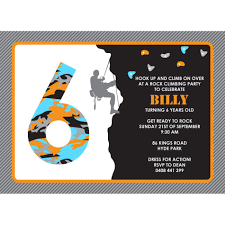 Invitation Card 7th Birthday Boy Rock Climbing Birthday Party Printable Invitation Kids