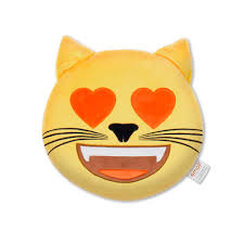 Vacuum Emoji by Official Emoji Plush Cat Heart Eyes Pillow With Trademark Emoji
