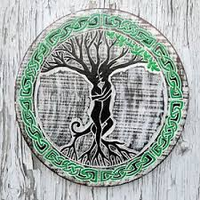 tree of celtic knot wood carved painted