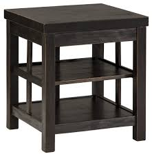 end table with shelves rustic distressed black square end table with 2 shelves by signature