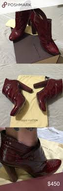 hp lv stunning burgundy booties louis vuitton