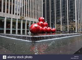 ornament balls outside rockefeller center on sixth