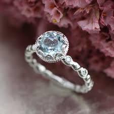 aquamarine and diamond ring floral aquamarine engagement ring in 14k white gold diamond
