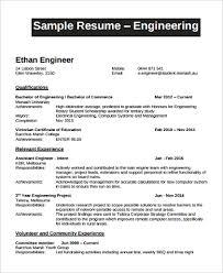Sample Resume For Engineering Internship by Sample Engineer Resume 9 Examples In Word Pdf
