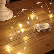 2m silver micro wire battery lights 20 leds