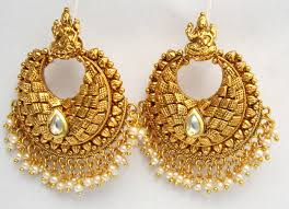 dangler earrings buy gold pearl temple dangler earrings online