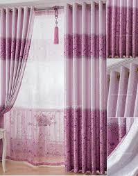 Purple Room Darkening Curtains Poly Cotton Floral Pattern Decorative Purple Room Darkening Curtains