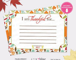 thanksgiving i am thankful for cards etsy