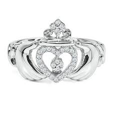the claddagh ring 1 10 ct tw diamond claddagh ring in sterling silver 1886866