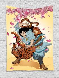 japanese tapestry wall hanging battle samurai tiger home decor ebay
