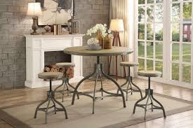 adjustable height round table beacher 5pcs industrial metal adjustable height round dining table set
