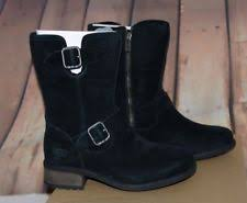 s ugg australia chaney boots ugg australia sz 7 chaney black suede buckle moto boots water