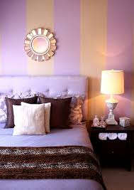 purple bedroom design with orange wall color combination and small