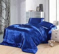 Sonic Duvet Set Royal Blue Duvet Covers Bedding Set Silk Satin California King