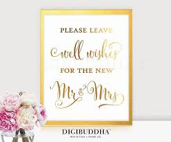 wedding well wishes well wishes sign gold foil wedding sign well wishes for the new mr