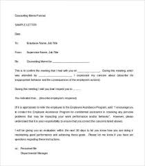 employee counseling form disciplinary letter of counseling memo
