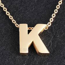 titanium pendant necklace images Stylish alphabet shape titanium steel pendant necklace gold jpg