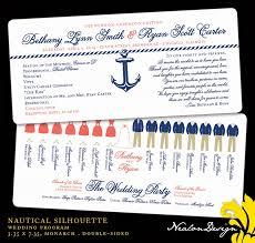 nautical wedding programs nealon design silhouette wedding program table assignments