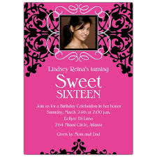 sweet 16 photo card pink and black invitations paperstyle