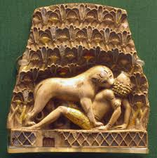 lion eating a man one of the nimrud ivories from the 9th 7th