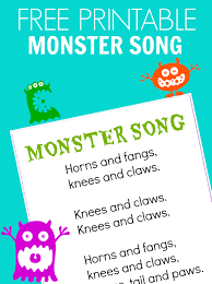 preschool thanksgiving song monster song free printable no time for flash cards