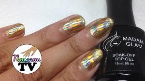 holographic gold nail foil tutorial gel vs nail polish youtube