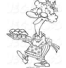 vector of a cartoon mrs claus baking cupcakes coloring page