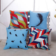 geometric fringe feather and bird one side printing home decor