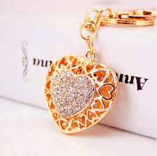 cute key rings images Crystal gold plated cute key ring keychain figurine purse charm PNG