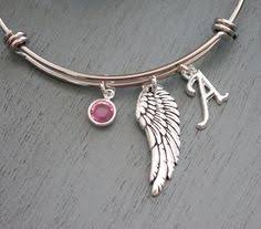 Personalized Remembrance Gifts Angel Wing Bracelet Personalized Wing Bangle Letter Birthstone