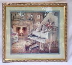 sale home interiors homco picture angel w lamb by d giacomo large homco home interiors gold framed print grand piano fireplace flowers scarf