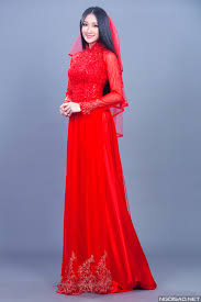ao dai cuoi dep thanh nhàn chọn 2 kiểu áo dài cưới sắc đỏ áo dài thanh mai