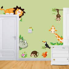 monkey tree height chart nursery wall decal removable animal large size baby nursery wildlife animal wall decal forest tree sticker lion