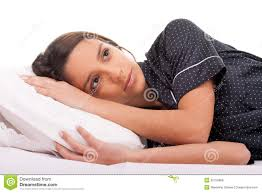 Bed Eyes Woman Lying In Bed With My Eyes Open Royalty Free Stock Photos
