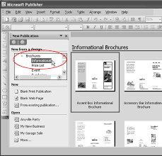 publisher 2003 in pictures create a brochure from a template