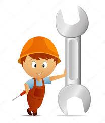 cartoon handyman with huge big wrench u2014 stock vector acidburn