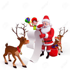 santa and reindeer santa and reindeer with big gift list stock photo picture and