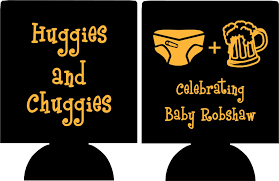 huggies and chuggies baby shower koozie favors can coolers