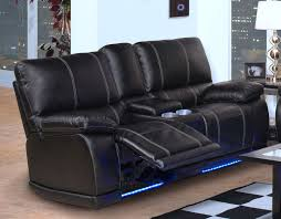 Rocking Sofa Recliner Black Leather Power Rocker Reclining Loveseat With Led Light