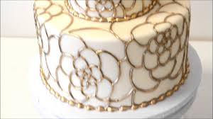 wedding cake made with fondant icing and gold piping youtube