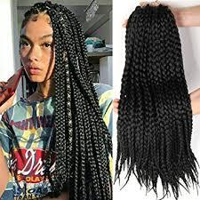 crochet braids box braid style crochet hair 18 inch 6 packs black