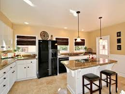 brown wooden cabinet remodeling small kitchen into eat eat kitchen island red painted wood bar stools barlight brown shade lighting chrome pendant light