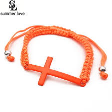 woven bracelet with cross images Cross charm bracelet women colorful braid adjustable rope hand jpg