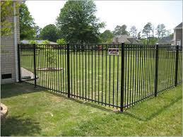 allure aluminum worthington 4 ft x 6 ft black aluminum 3 rail black metal fence midsized elegant backyard rectangular and stone