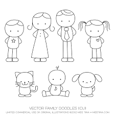 vector family doodles cu drawing families
