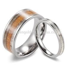 deer antler wedding band cheap wholesale matching set of wood and antler wedding rings