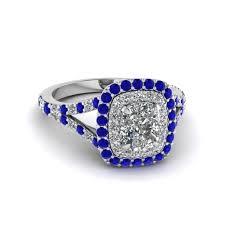 sapphire halo engagement rings cushion cut halo engagement ring with sapphire in
