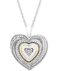 heart necklace pendant images Macy 39 s diamond accent two tone heart pendant necklace in sterling tif