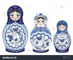 decorative matryoshka doll folk floral ornament stock vector