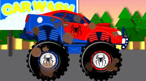 monster truck videos spiderman car wash monster truck videos for children videos